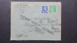 Lettre Octobre 1940 De Autun Griffe Relations Postales Suspendues Pour Le Bas Rhin - Marcophilie (Lettres)