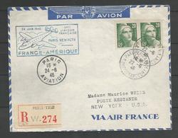 France - Aérophilatélie - Lettre + Cachet 1ère Liaison Française Paris-New-York 24/06/46 - Marcophilie (Lettres)