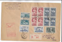 1939 - SPECTACULAIRE AFFRANCHISSEMENT Sur ENVELOPPE GF RECO 1° VOL FRANCE - ETATS UNIS ! - 1927-1959 Lettres & Documents