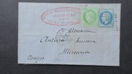 Lettre Affr. Bicolore Ceres Napoleon 1873 De Metz Obl AVP2° Ambulant Avricourt A Paris Pour Les Vosges - 1877-1920: Periodo Semi Moderno