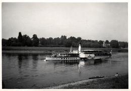 """Photo Originale Excursion Sur Bateau Vapeur à Roues : """" Le Leipzig """" Sur Le Rhin Vers 1950/60 - Boten"""