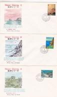 RYUKYU ISLANDS, LOT OF 3 ENVELOPES FDC, YEAR 1972. OCEAN SERIES I, COMPLETE SERIE. YVERT N° 215 / 217.  -LILHU - Ryukyu Islands