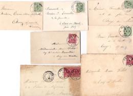LOT 7 ENVELOPPES AFFRANCHIES DE 1875 A 1889 TIMBRES-POSTES CACHETS POSTALE DIFFERENT PELTRE METZ PONT A MOUSSON - Autres