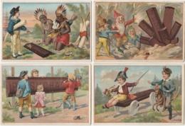 Lot De 4 CHROMOS Chocolat SUCHARD  +/- 1891 Serie 23 Gnomes Indiens Trade Card Dwarfs  Indians - Suchard