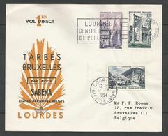 France - Aérophilatélie - Lettre 14/07/54 - 1er Vol Direct Tarbes Bruxelles Lourdes - Sabena - Marcofilie (Brieven)