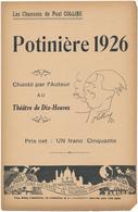 Chanson De Paul COLLINE - Potinière 1926 - Deauville - Partitions Musicales Anciennes