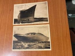 """Saint Nazaire - 2 Cpa  Le Transatlantique -paquebot """" Normandie """"  ( Port Offert ) - Passagiersschepen"""