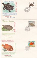 RYUKYU LOT OF 10 ENVELOPES FDC 1966-1967. NATURAL MONUMENT, TURTLE AND TROPICAL FISH SERIES. YVERT N° 133 - 142 -LILHU - Ryukyu Islands