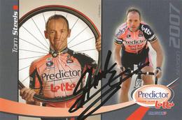 CARTE CYCLISME TOM STEELS SIGNEE TEAM LOTTO -  PREDICTOR 2007 - Cycling