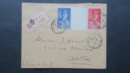Lettre Recommandé Dijon  Mars 1941 Affranchissement Tricolore Petain 472 Et 473 Pour Autun - Marcophilie (Lettres)