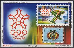 Bolivia, Winter, 1987, S/s # 165, Olympic Games 1988, Block 30 Euro - Winter 1988: Calgary