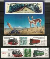 Locomotives Allemandes : Esslingen,etc. Chemins De Fer Du Chili Et D'Allemagne. Bloc-Feuillet + Série Neufs ** - Trains