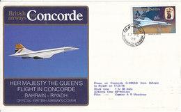 Her Majesty The Queen's Flight In Concorde Bahrain -  Riyadh ,avec Certificat ,1979 , 2 Scans - Bahreïn (1965-...)