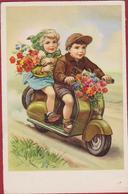 Moteur Motocyclette Moto Motorrad Velo Scooter Brommer Vespa 1955 Enfants Amour Children Romance Cpa Old Postcard - Grupo De Niños Y Familias