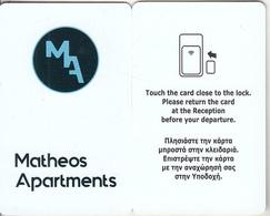 GREECE - Matheos Apertments, Hotel Keycard, Used - Cartes D'hotel
