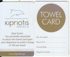 GREECE - Kipriotis Hotels, Towel Card, Unused - Cartes D'hotel