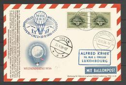 Aérophilatélie - Carte 1956 - Luxembourg - Weltkindertag - Ballonpost Linz-Tulln Autiche/Austria/Oesterreich - Storia Postale