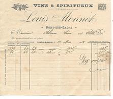 2 Factures 1/2 Format 1950 / 70 PORT SUR SAONE / Louis MONNOT / Vins & Spiritueux - France