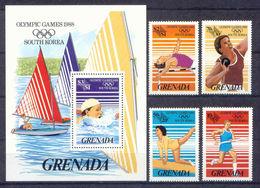 Grenada, Olympic Games 1988, 4 Stamps + Block - Zomer 1988: Seoel