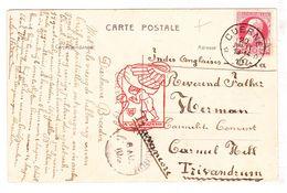 PK Kuurne - Gemeentehuis 1910 - Curiositeit / Postkaart Verstuurd Naar Carmel Hill Convent Trivandrum Travancore Indië - Kuurne