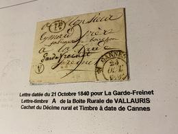 LETTRE  Du 21 Octobre 1840 Pour  LA GARDE FREINET ( Descriptif General Voir Scan Lettre ) - Port Offert - Marcofilie (Brieven)