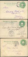 Mexico 3 Postal Cards MEPSI #PC114 Type I Preprinted  Used 1909-10 - Mexique