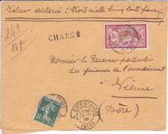 Devant De Lettre Chargée 15/11 1909 Dernier Jour Transition Sans Cachet Descriptif Chargement Ni étiquette Recommandé - Marcofilie (Brieven)