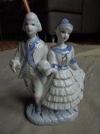 Figurine Statuette - Couple De Danseurs En Céramique - Personnages