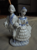 Figurine Statuette - Couple De Danseurs En Céramique - People