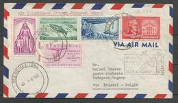 Aérophilatélie - USA - Lettre 09/03/1957 Des Moines Iowa - Budapest Via Bruxelles - Sabena - 1c. 1918-1940 Covers
