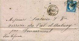 AMBULANT LE HAVRE A PARIS 30 DEC 76 B + Losange L P 2° Sur N°60 25c Cérès Pour Foucarmont Sans Texte - Marcophilie (Lettres)