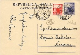 Intero C133 ; Velo Veronese 21-3-1948 Per Vicenza - 6. 1946-.. Repubblica
