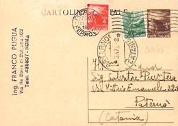 Intero C131 ; Roma 26-8-1947 Per Paternò - 6. 1946-.. Repubblica