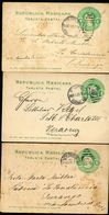 Mexico 3 Postal Cards MEPSI #PC114 Type I Used Guanacevi + Veracruz 1907-09 - Mexique