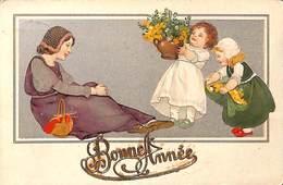 Enfants Fillettes Fleurs & Mère (von B Dondorf 1909) - Künstlerkarten