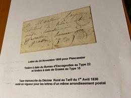 LETTTRE - DU  24 /11/1855 -POUR Plascassier ( Descriptif General Voire Scan LETTRE ) - Port Offert - Marcofilie (Brieven)