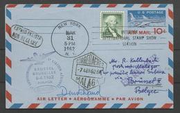 Aérophilatélie - USA - Lettre 31/03/62 - New York-Bruxelles - Cachet 1er Vol Sabena Bruxelles-Malaga - 3c. 1961-... Covers