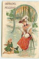 N°14166 - Carte Gaufrée - Glückliches Neujahr - Ange Aidant Une Jeune Femme à Mettre Des Patins - Nouvel An
