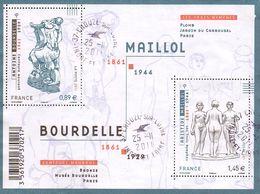 France Oblitération Cachet à Date BF N° F 4626 - Sculptures - Oeuvres De Bourdelle Et Maillol - Blocks & Kleinbögen