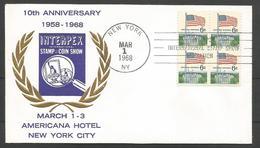 USA - Lettre 01/03/1968 - Interpex Stamp & Coin Show - Americana Hôtel New York - Schmuck-FDC