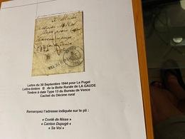 LETTRE Du 30/09/1844 Pour LE PUGET  ( Descritif General Voire Scan LETTRE °) Port Offert - Marcofilie (Brieven)