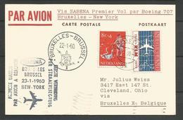 Aérophilatélie - Pays-Bas - Lettre 1960 's Gravenhage- 1er Vol Boeing 707 Sabena Bruxelles-New York - Poste Aérienne