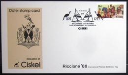 """CISKEI                Carte Commémorative   """" RICCIONE 88 """" - Ciskei"""