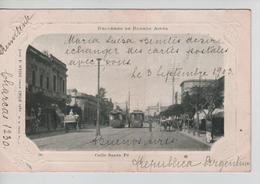 CBPNCPCF25/ Argentina-Argentine Calle Santa Fé Recuerdo De Buenos Aires Tram 1903 Animée Chevaux Charrettes - Argentina