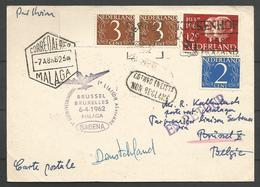 Aérophilatélie - Pays-Bas - Carte 1962 Roermond - Sabena Bruxelles-Malaga - Luchtpost