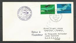 Aérophilatélie - Pays-Bas - Lettre 1969 Amsterdam - 1er Vol  Sabena Bruxelles-Conakry - Poste Aérienne