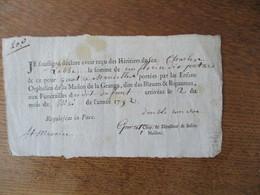 2 MAI 1792 RECU DES HERITIERS DE FEU CHARLES LABBE POUR QUATRE CHANDELLES PORTEES PAR LES ENFANTS ORPHELINS DE LA MAISON - Documenti Storici