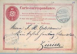 1872 , SUIZA , BIENNE - ZÜRICH , SOBRE ENTERO POSTAL CIRCULADO , LLEGADA - Stamped Stationery