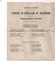 TROUVILLE SUR MER - Paroisse Notre Dame De Bon-Secours - Messe Militaire 1914-1915 - Documents