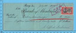 Bury Quebec- 1939 Cheque De Paye 91 Heures à 20¢ /heure - Valere Belanger Par Clifford Anderson + Timbre Taxe - Chèques & Chèques De Voyage